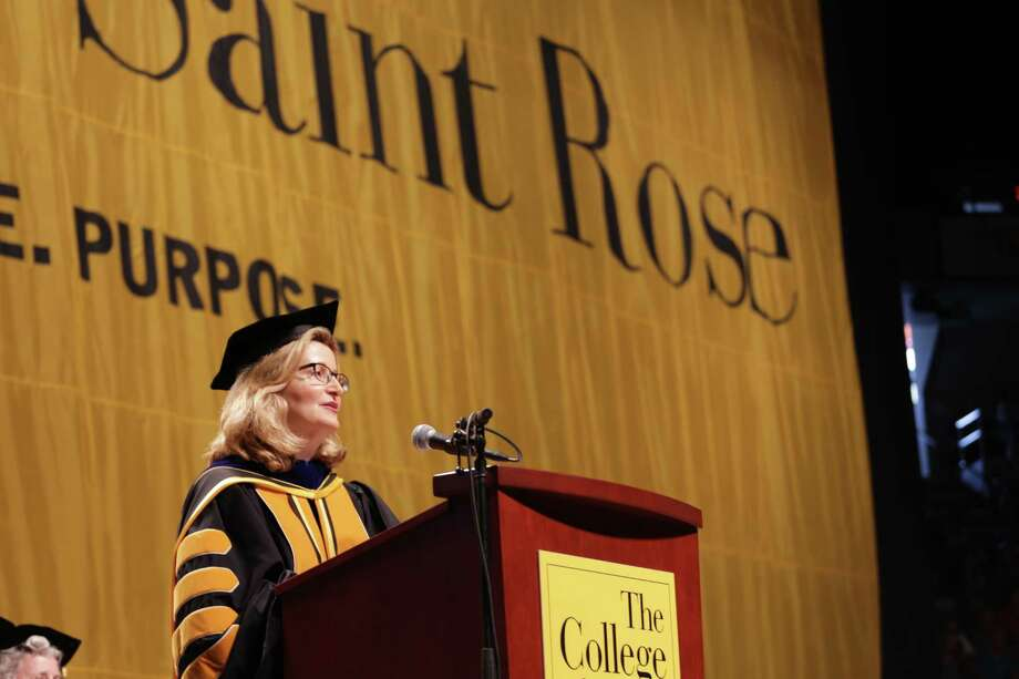 The College of Saint Rose President Carolyn Stefanco addresses the crowd at commencement, after she receives an honorary degree on Saturday, May 14, 2016, at the Times Union Center in Albany, N.Y. (Brian Alpart/Special to the Times Union) Photo: Brian Alpart
