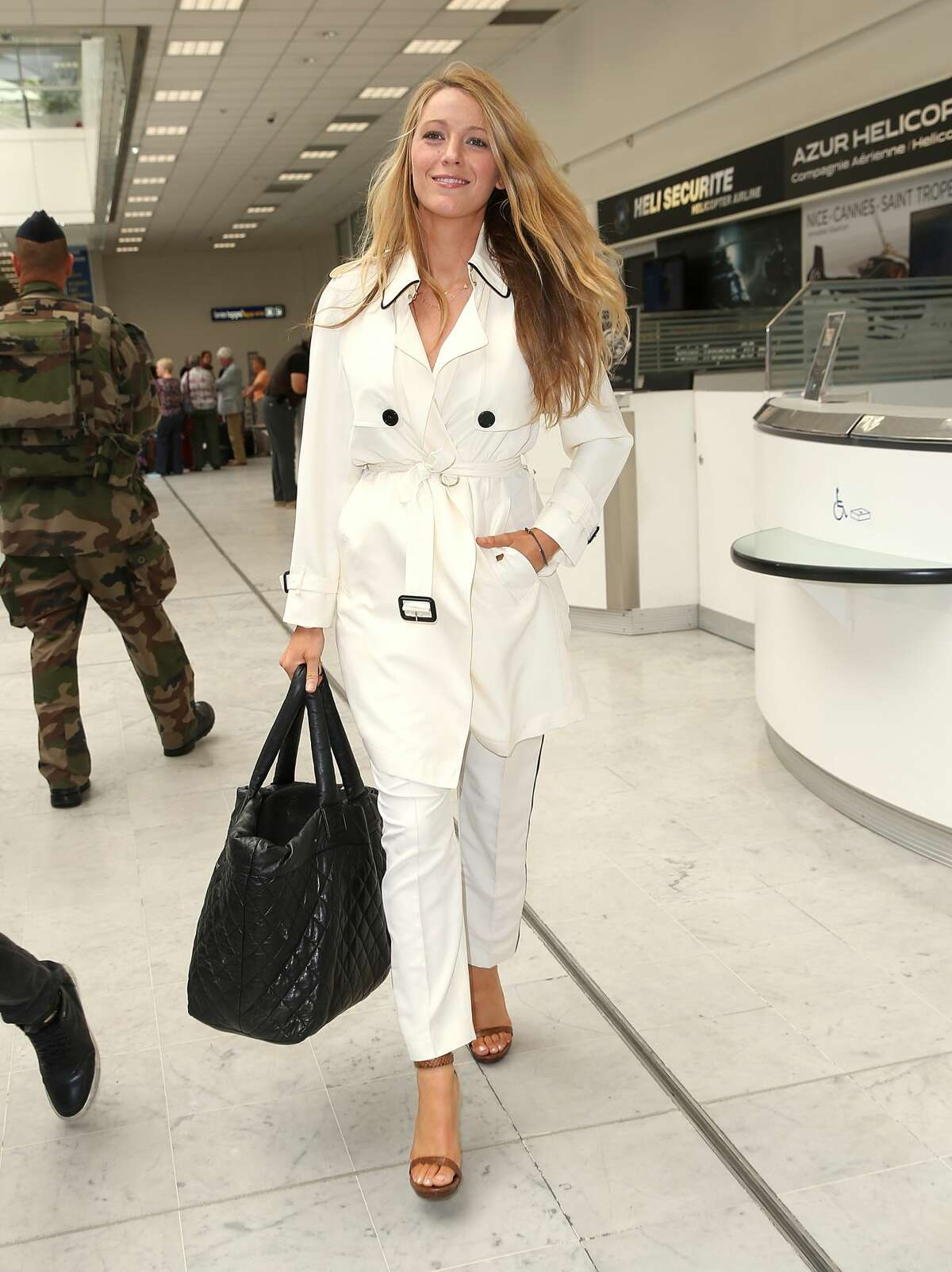 Blake Lively arrives at Nice airport on May 9, 2016 in Nice, France.