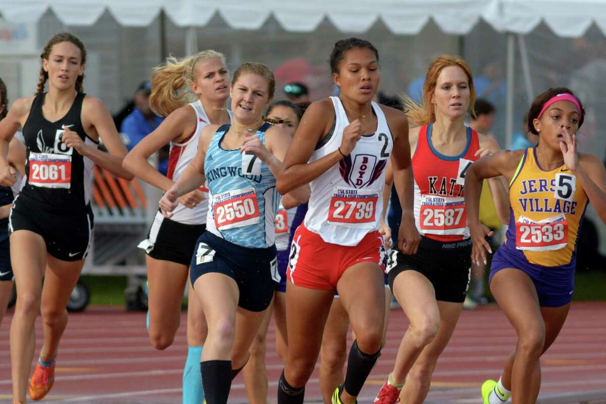 McKinney Boyd's Aaliyah Miller, center, leads Jersey Village's Morgan Stewart, from right, Katy's Christie Terhune, and Brianna Nolen during the Conference 6A Girls 800 Meter Run at the UIL Track & Field Championships at Mike R. Meyers Stadium on the campus of The University of Texas at Austin on Saturday, May 13, 2016. (Photo by Jerry Baker/Freelance)
