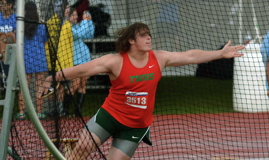 The Woodlands junior Adrian Piperi competes in the Conference 6A Boys Discus competition at the UIL Track & Field Championships at Mike R. Meyers Stadium on the campus of The University of Texas at Austin on Saturday, May 14, 2016. (Photo by Jerry Baker/Freelance) Photo: Jerry Baker, For The Houston Chronicle