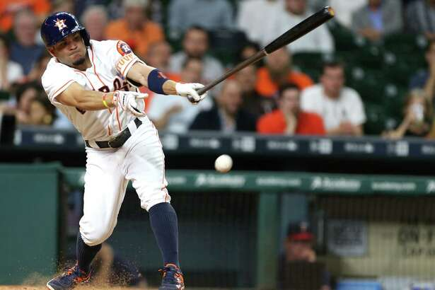 Houston Astros second baseman Jose Altuve (27) grounds out in the third. Photos of game three between Houston Astros and Minnesota Twins on Wednesday, May 4, 2016, in Houston. The series is tied 1-1. ( Elizabeth Conley / Houston Chronicle )