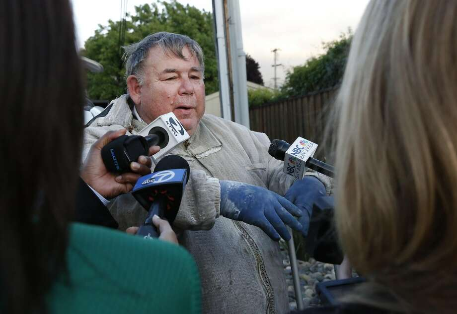 """Volunteer Beekeeper Norman Lott from the Mt. Diablo Beekeepers Association answers questions from the media about bees and Africanized """"killer bees"""", the kind that officials suspect took over an amateur beekeeper's hive and began stinging neighbors May 14, 2016 in Concord, Calif. Lott came to offer his help to the beekeeper, but was informed that his services were not needed as the beekeeper was going to remove the remaining bees in the evening hours while they were settled and calmer. Photo: Leah Millis, The Chronicle"""