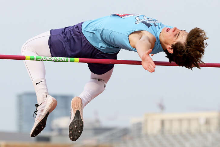 Johnson's Jack Scarborough clears 6 feet, 8 inches to finish in fourth place in the 6A boys high jump during the third and final day of the UIL state track and field championships at Mike Myers Stadium in Austin on Saturday, May 14, 2016.   MARVIN PFEIFFER/ mpfeiffer@express-news.net