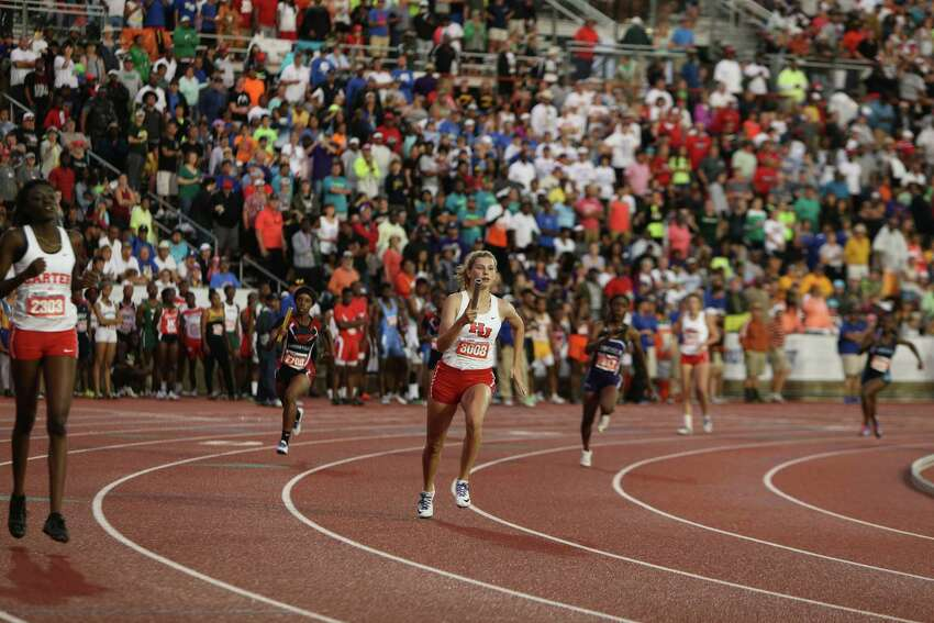 Katelyn Holland of Hardin-Jefferson High School runs a leg of the Class 4A girls 800-meter relay at the 2016 UIL State Track and Field Meet on Saturday, May 14, 2016 at Mike A. Myers Stadium on the campus of the University of Texas in Austin, Texas. The Lady Hawks team won gold in the event.