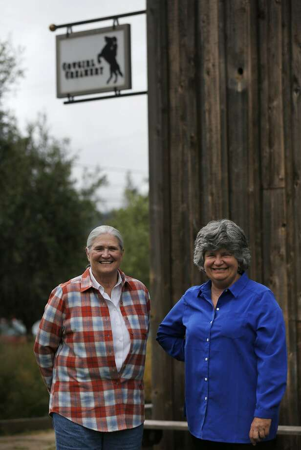 Co-founders of Cowgirl Creamery Peggy Smith, left, and Sue Conley pictured at their shop May 14, 2016 in Point Reyes Station, Calif. Photo: Leah Millis, The Chronicle
