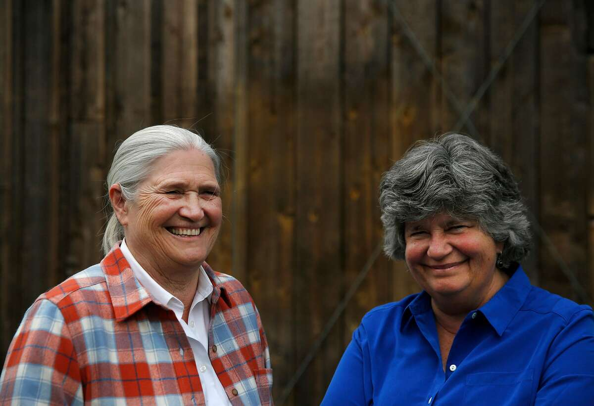 Co-founders of Cowgirl Creamery Peggy Smith, left, and Sue Conley pictured at their shop in Point Reyes Station. They are retiring from the company.