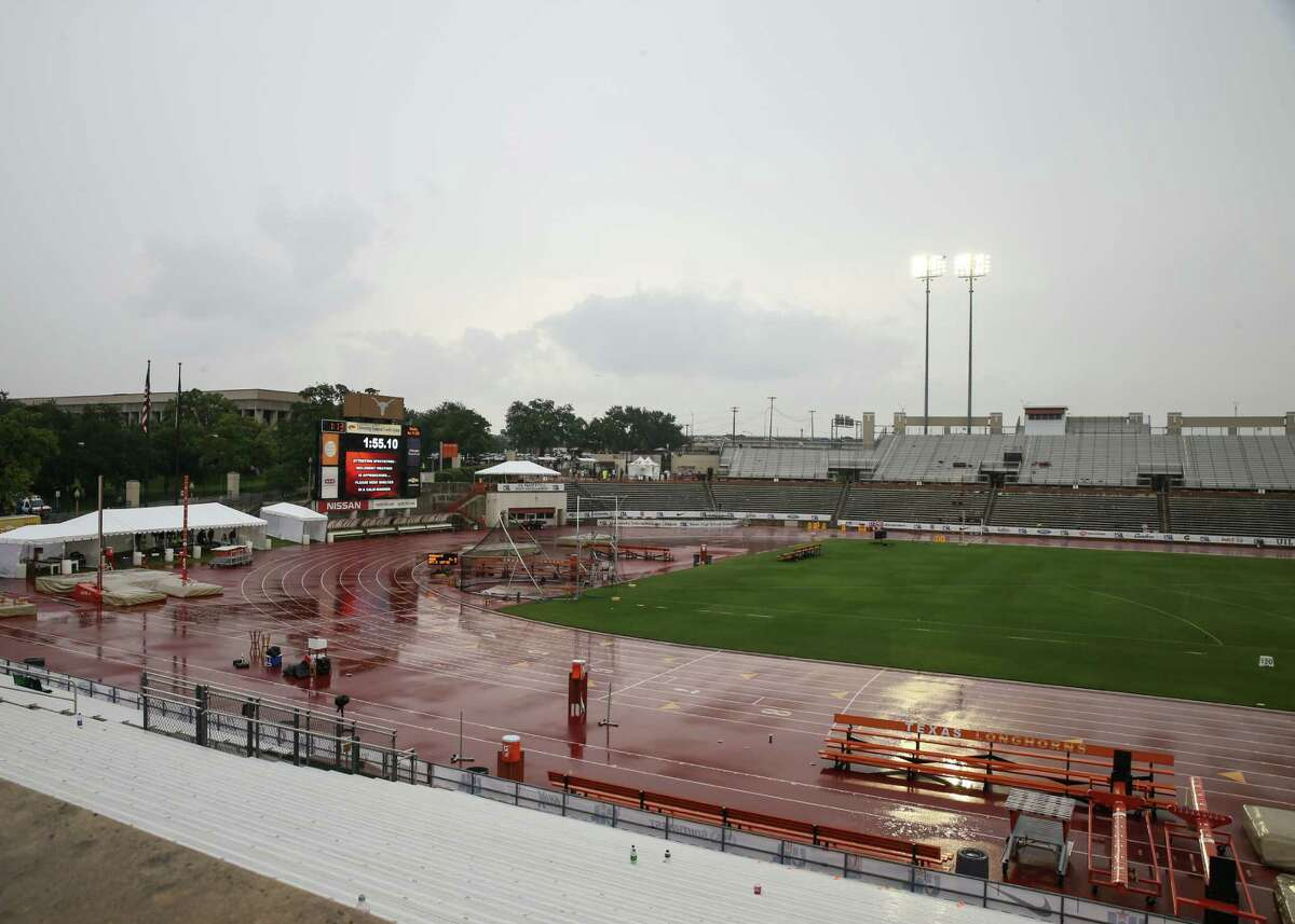 Saturday's events at the 2016 UIL State Track and Field Meet came to a halt at 12:34 p.m. as thunderstorms moved into the Austin area, forcing attendees to evacuate Mike A. Myers Stadium.