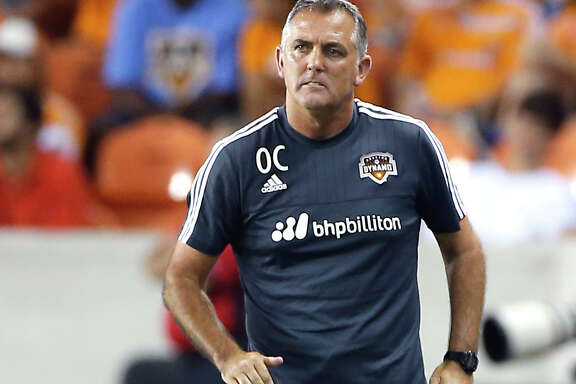 Houston Dynamo head coach Owen Coyle during the first half of MLS game action at BBVA Compass Stadium Saturday, Aug. 8, 2015, in Houston.