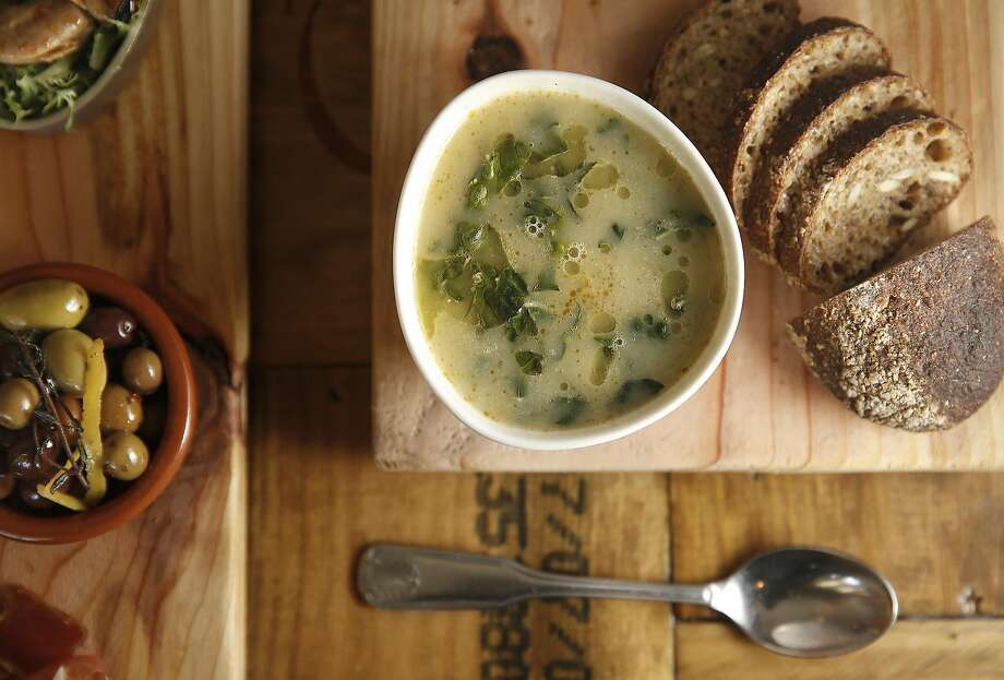 Portugal's national soup Saldo Verde (middle) made at restaurant Tasca Tasca in Sonoma. Photo: Liz Hafalia, The Chronicle