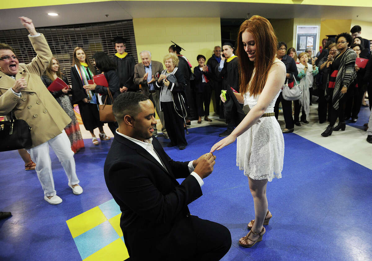Immediately following her graduation from Sacred Heart University, Erin Civitelli, of Stratford, is proposed marraige by her boyfriend, Josh Tong, of North Haven, at the Webster Bank Arena in Bridgeport, Conn. on Sunday, May 16, 2016. Civitelli said yes.