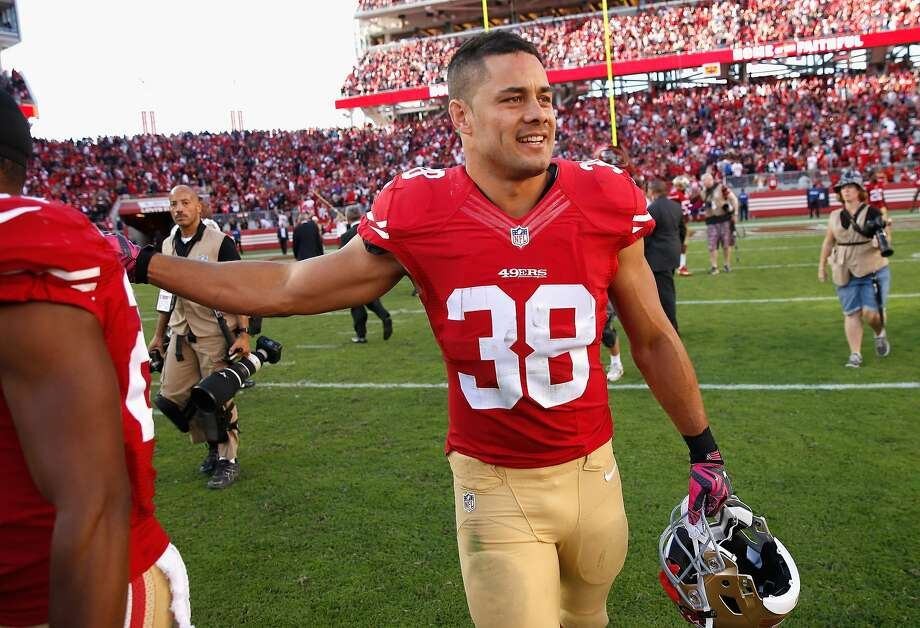 Jarryd Hayne #38 of the San Francisco 49ers walks off the field after the 49ers beat the Baltimore Ravens at Levi's Stadium on October 18, 2015 in Santa Clara, California.  (Photo by Ezra Shaw/Getty Images) Photo: Ezra Shaw, Getty Images