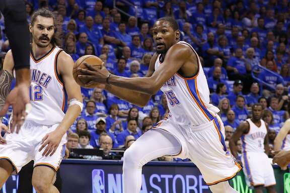 Oklahoma City Thunder forward Kevin Durant (35) drives during Game 6 of a second-round NBA basketball playoff series between the San Antonio Spurs and the Oklahoma City Thunder in Oklahoma City, Thursday, May 12, 2016. (AP Photo/Alonzo Adams)