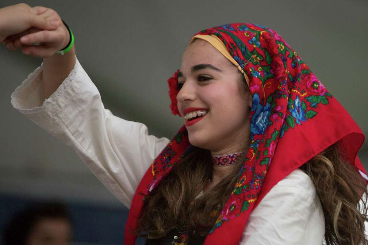 Nicoletta Varcados, 14, a member of The Kefi Dancers performs at the 2016 Houston Greek Fest, Sunday, May 15, 2016, in Houston.