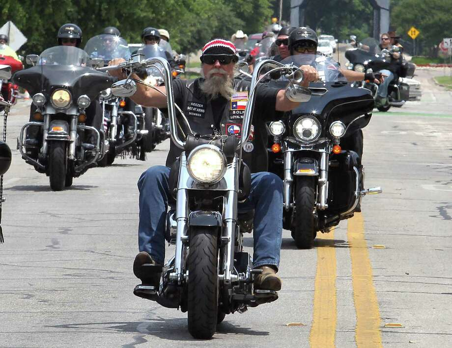 Motorcyclists ride Saturday to the McLennan County Courthouse to mark the May 17, 2015, Waco shootout. Photo: Jerry Larson, MBO / Waco Tribune Herald