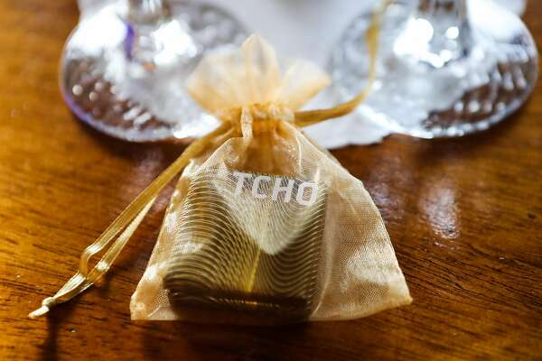 A piece of TCHO chocolate sits on a side table in one of the rooms at The Pelican Inn, in Marin County, California, on Thursday, May 12, 2016.
