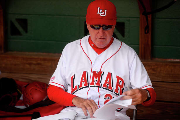 Coach Jim Gilligan gets ready before his last home game as coach of Lamar's baseball team on Sunday. Gilligan has been part of Lamar baseball for more than 40 years, including his time as a player.  Photo taken Sunday 5/15/16 Ryan Pelham/The Enterprise