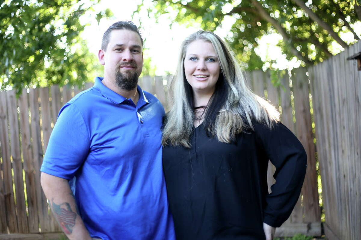 William and Morgan English outside their Brenham, Texas home on Tuesday, May 3, 2016. The two, who were arrested following a shoot-out in Waco, Texas, are expecting their first child.