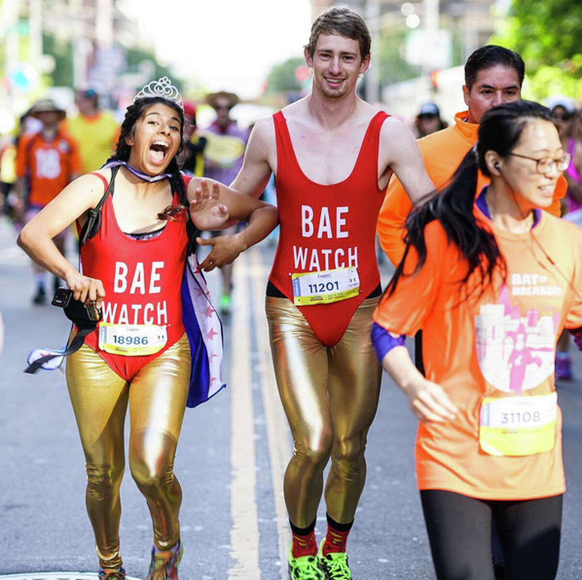 Costumed participants take part in the 2016 Bay to Breakers in San Francisco on May 15, 2016.
