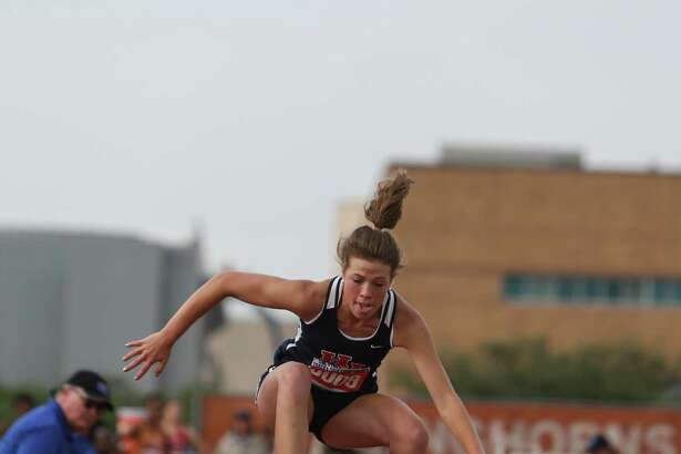 Raylie Huff of Hardin-Jefferson High School competes in the Class 4A girls triple jump event at the 2016 UIL State Track and Field Meet on Saturday, May 14, 2016 at Mike A. Myers Stadium on the campus of the University of Texas in Austin, Texas.