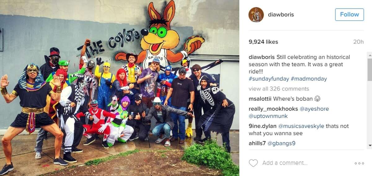 The Spurs kicked off their their offseason with this hilarious costume party photo shared on Instagram. But who's who in this bunch?This is who we think is wearing which costume in the photo. Have any other guesses? Send them our way!