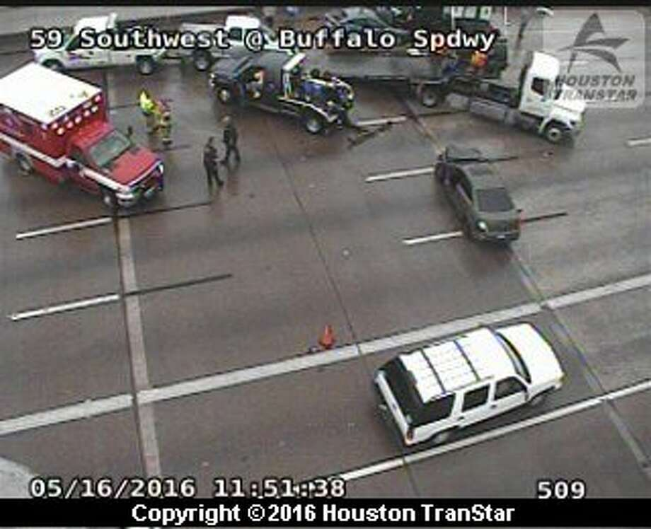 A four-vehicle pileup happened about 11:20 a.m. Monday May 16, 2016, on the inbound Southwest Freeway near Buffalo Speedway, according to Houston TranStar. (Houston TranStar)