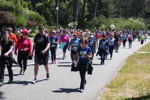 Participants take part in the Bay to Breakers race in Golden Gate park on May 16, 2016.