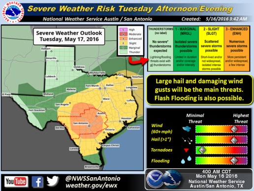 Nws Severe Storms Possible 2 Inch Hail Forecast For San