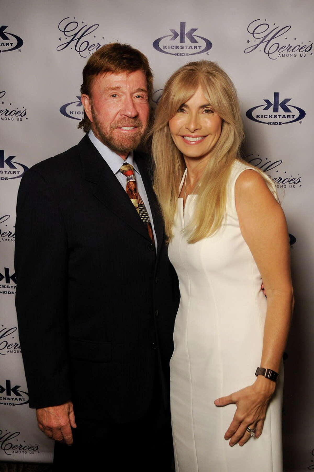 Gena and Chuck Norris at the 2016 Kickstart Kids Gala