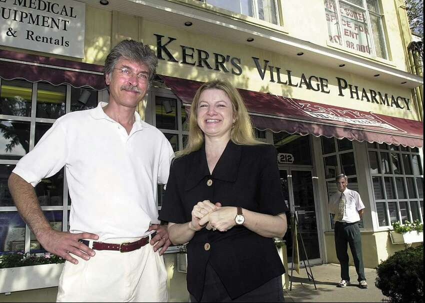 A local spot for our pharmaceutical needs? Why wouldn't we miss it? Kerr's Village Pharmacy of Old Greenwich closed up in 2006 after 46 years in business. Pictured here are owners Frank DeLuca, left, and wife, Linda DeLuca, in front of the drugstore in 2000.