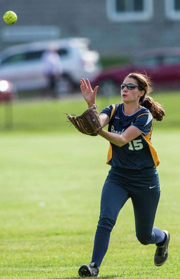 FILE PHOTO: Brookfield high school outfielder Heather Morey makes a catch during a first round game of the CIAC girls softball tournament against New Fairfield high school played at Brookfield high school, Brookfield, CT on Wednesday, June 3rd, 2015. Photo: Mark Conrad / Mark Conrad / Connecticut Post Freelance