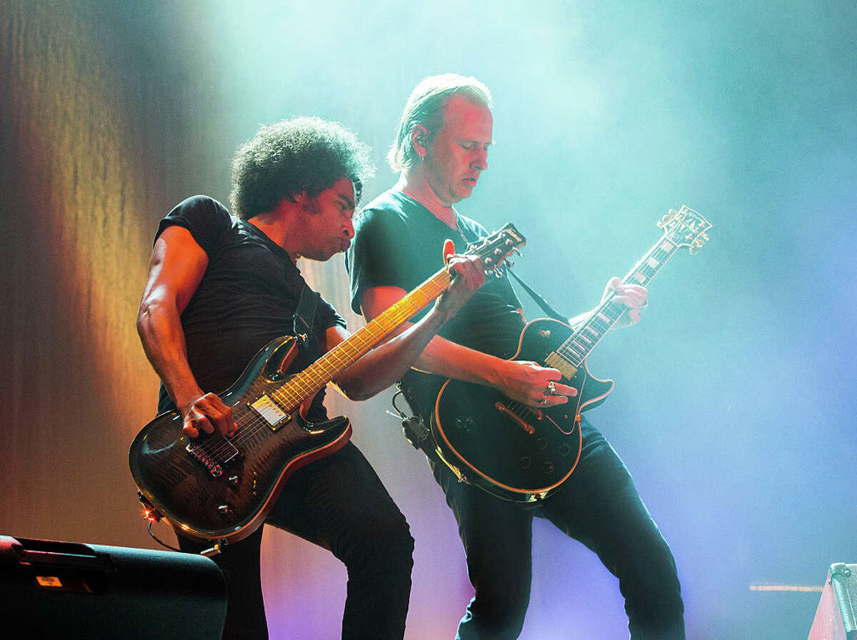 William DuVall, left, and Jerry Cantrell of Alice in Chains performs at Piedmont Park during day 1 of Music Midtown on September 18, 2015 in Atlanta, Georgia. (Photo by Scott Legato/FilmMagic)
