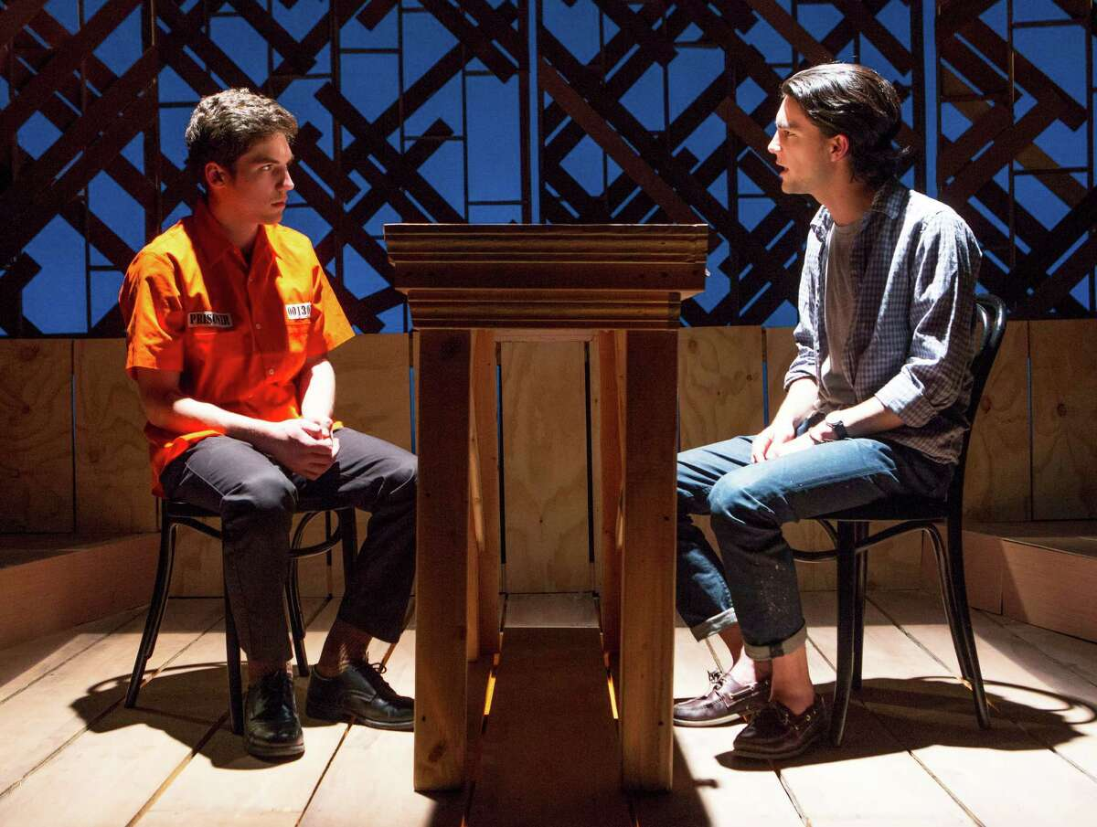 """Charlie Zuckerman, Class of ''18, and Nick Ribolla, Class of '16, in a scene from the Staples Players' production of the """"The Laramie Project: 10 Years Later."""""""