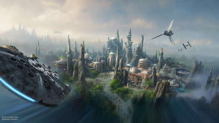 """FILE - Walt Disney Parks and Resort released concept art of their upcoming """"Star Wars Land"""" attraction on April 15, 2017. Photo: Disney Parks"""