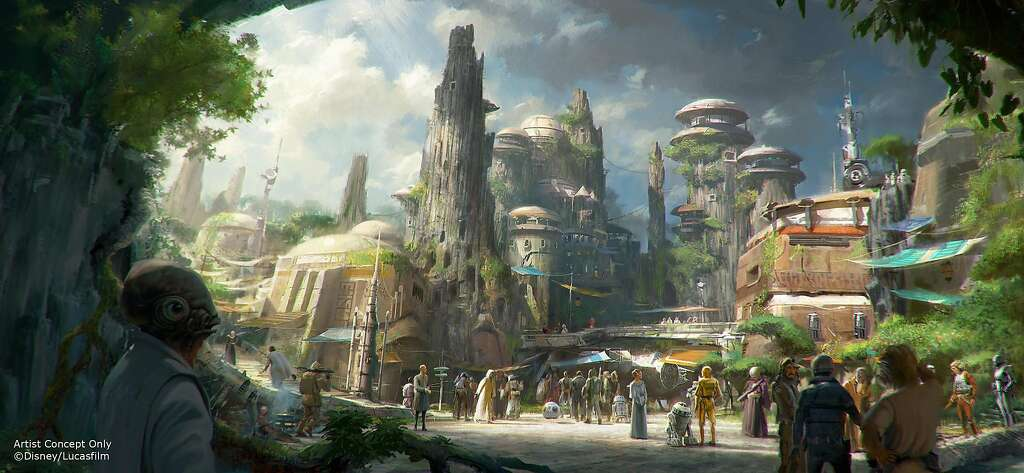 "FILE - Walt Disney Parks and Resort released concept art of their upcoming ""Star Wars Land"" attraction on April 15, 2017. Photo: Disney Parks"