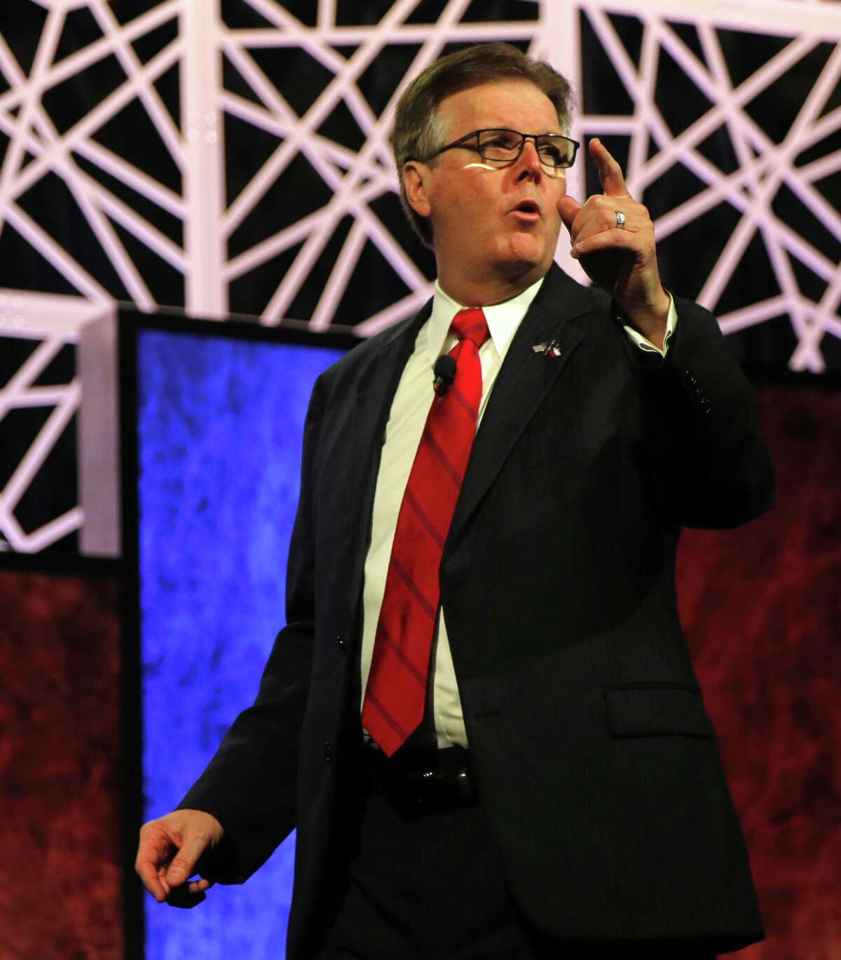 Lt. Gov. Dan Patrick speaks at the Republican Party of Texas State Convention at the Kay Bailey Hutchison Convention Center, on May 12 in Dallas. He has called for a cut in what he says is a back-door tuition hike - a move that will affect financial aid for disadvantaged students.
