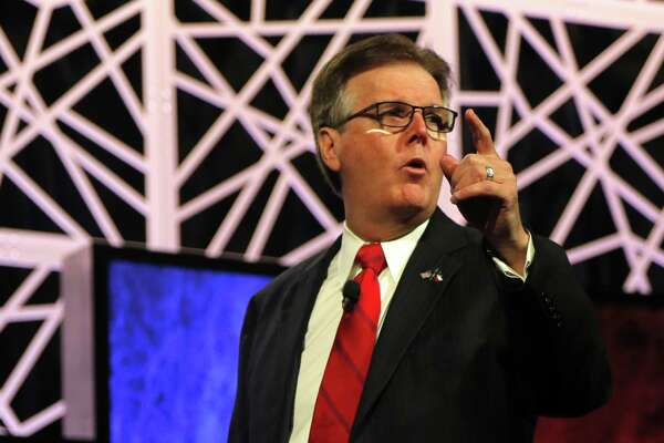 Lt. Gov. Dan Patrick speaks at the Republican Party of Texas State Convention at the Kay Bailey Hutchison Convention Center, on May 12 in Dallas. He has called for a cut in what he says is a back-door tuition hike — a move that will affect financial aid for disadvantaged students.