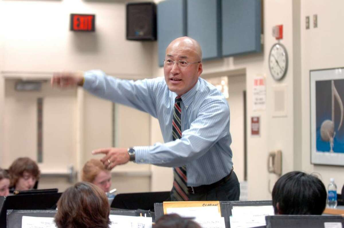 Band teacher John Yoon, directs one of the band practices at Greenwich High School, on Monday, March 30, 2010. A group of more than 150 Greenwich High School band members, as well as parents and chaperones, are scheduled to fly out of Athens at 9 a.m. local time Tuesday (2 a.m. Eastern Standard Time). The group, which has been delayed by the volcanic eruption in Iceland, will fly home on a single plane after organizers arranged a special flight with Lufthansa.