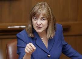 U.S. Rep Loretta Sanchez is a candidate for U.S. senate running against Kamala Harris as she talks about her views in San Francisco, California, on monday, may 16, 2016.