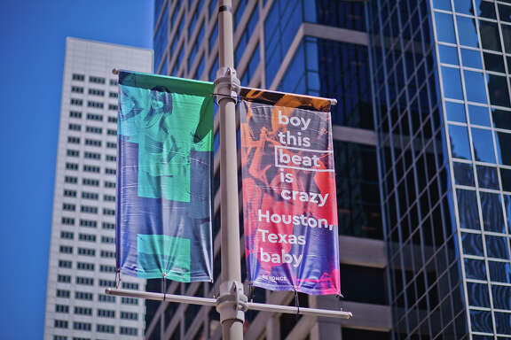 """Beyonce: """"boy this beat is crazy / Houston, Texas baby"""" (Part of the """"Figurative Poetics,"""" a Downtown Houston project involving 575 banners bearing quotes about Houston."""""""
