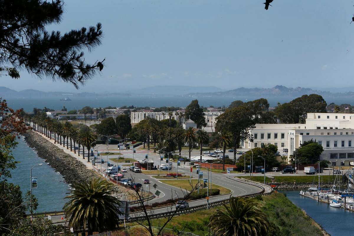 The Treasure Island Administration Building (partially seen at right) and the north west side of Treasure Island (left) is seen on Monday, May 16, 2016 on Treasure Island in San Francisco, California.