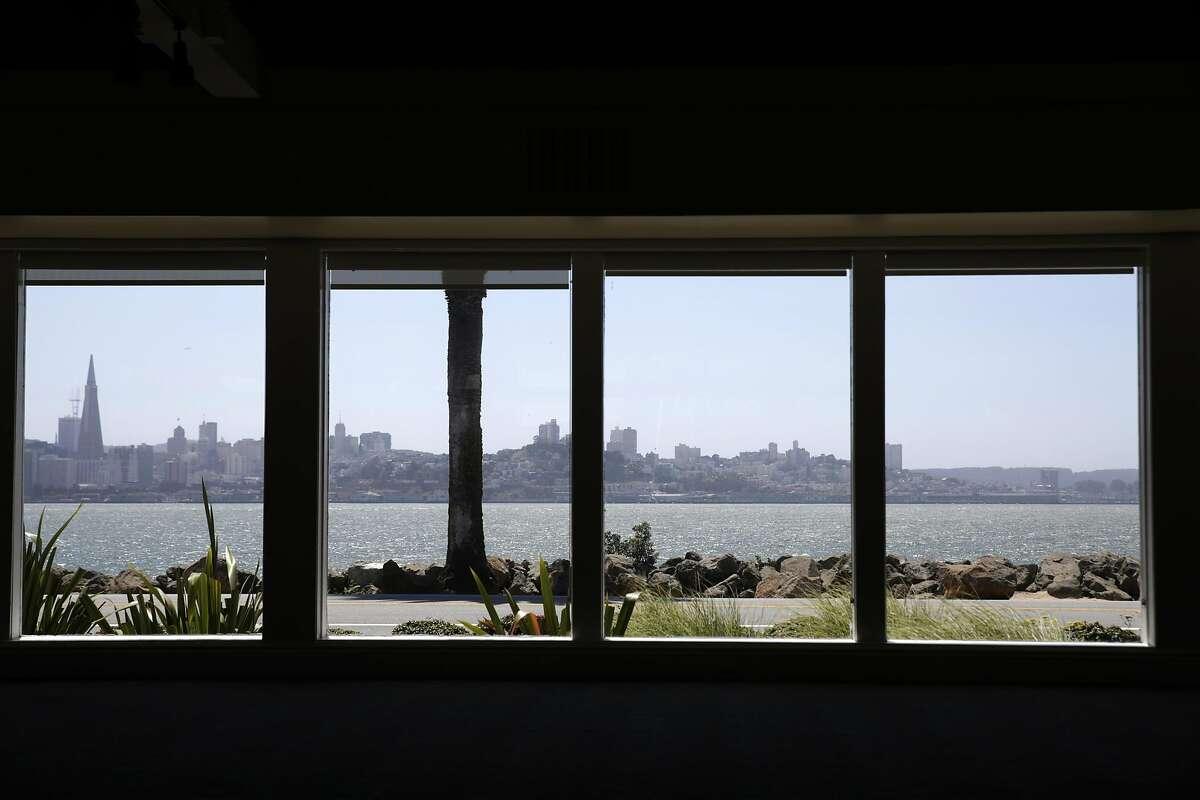 The San Francisco skyline is seen through windows at Casa de la Vista on Monday, May 16, 2016 on Treasure Island in San Francisco, California.
