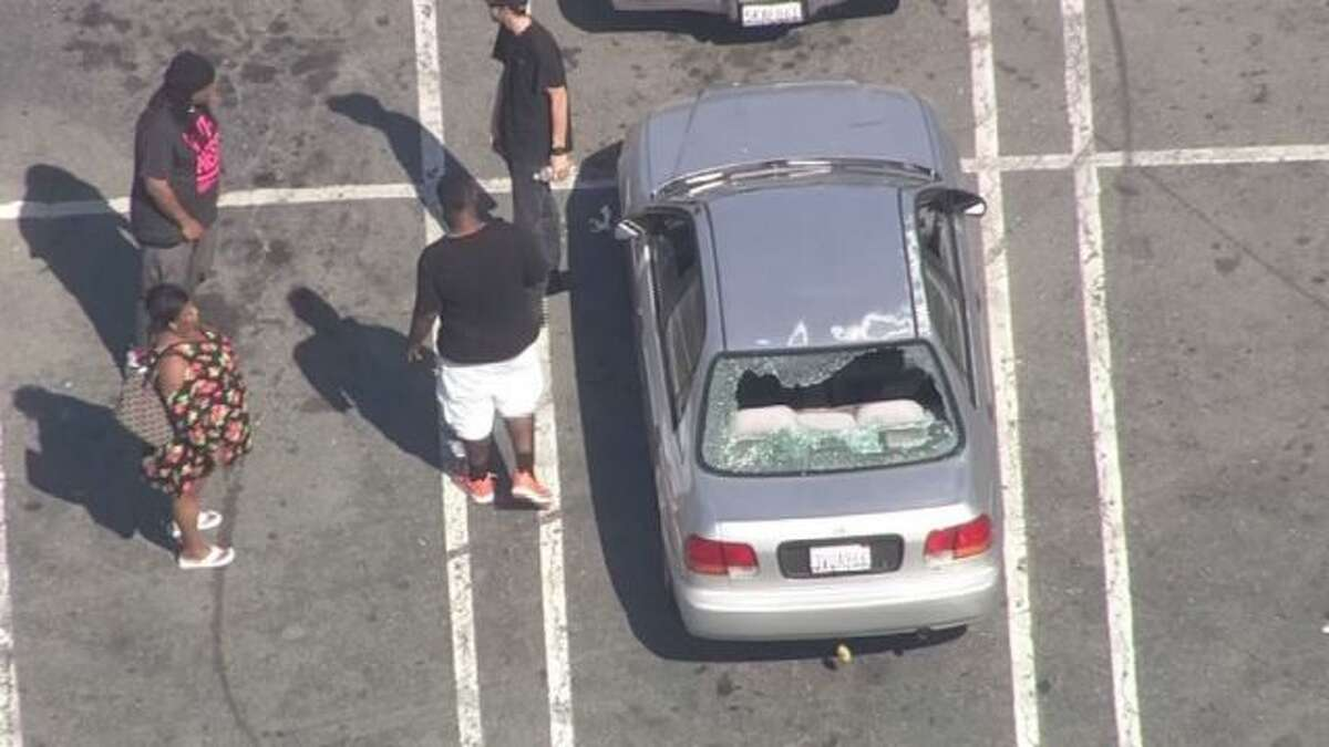The car that was targeted in a Highway 4 shooting in Antioch on May 16. (Credit: CBS)