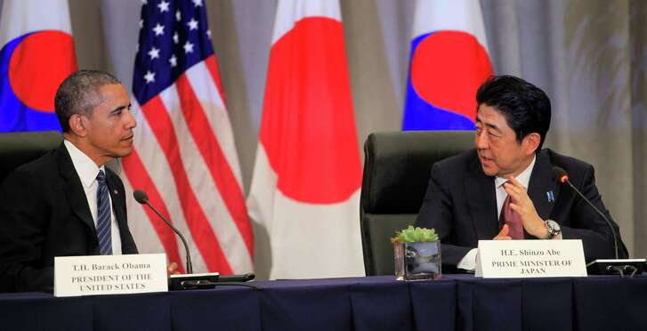 President  Obama and Prime Minister Shinzo Abe of Japan attend a meeting at the Nuclear Security Summit on March 31in Washington, D.C.   (Dennis Brack-Pool / Getty Images)