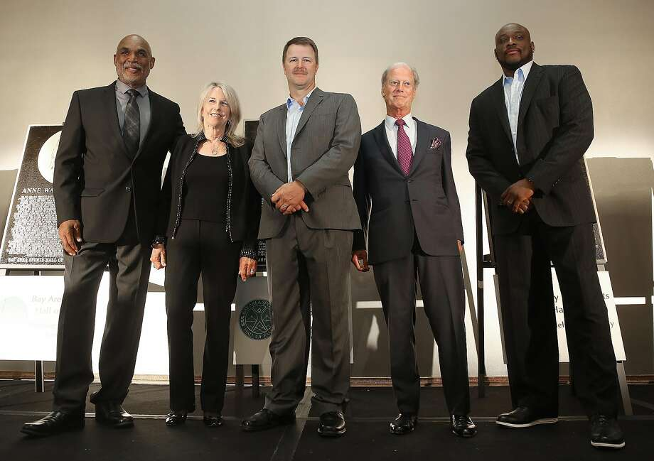 Raymond Chester (left), Anne Warner Cribbs, Jeff Kent, Peter Magowan and Mitch Richmond are inducted into the Bay Area Sports Hall of Fame. Photo: Liz Hafalia, The Chronicle