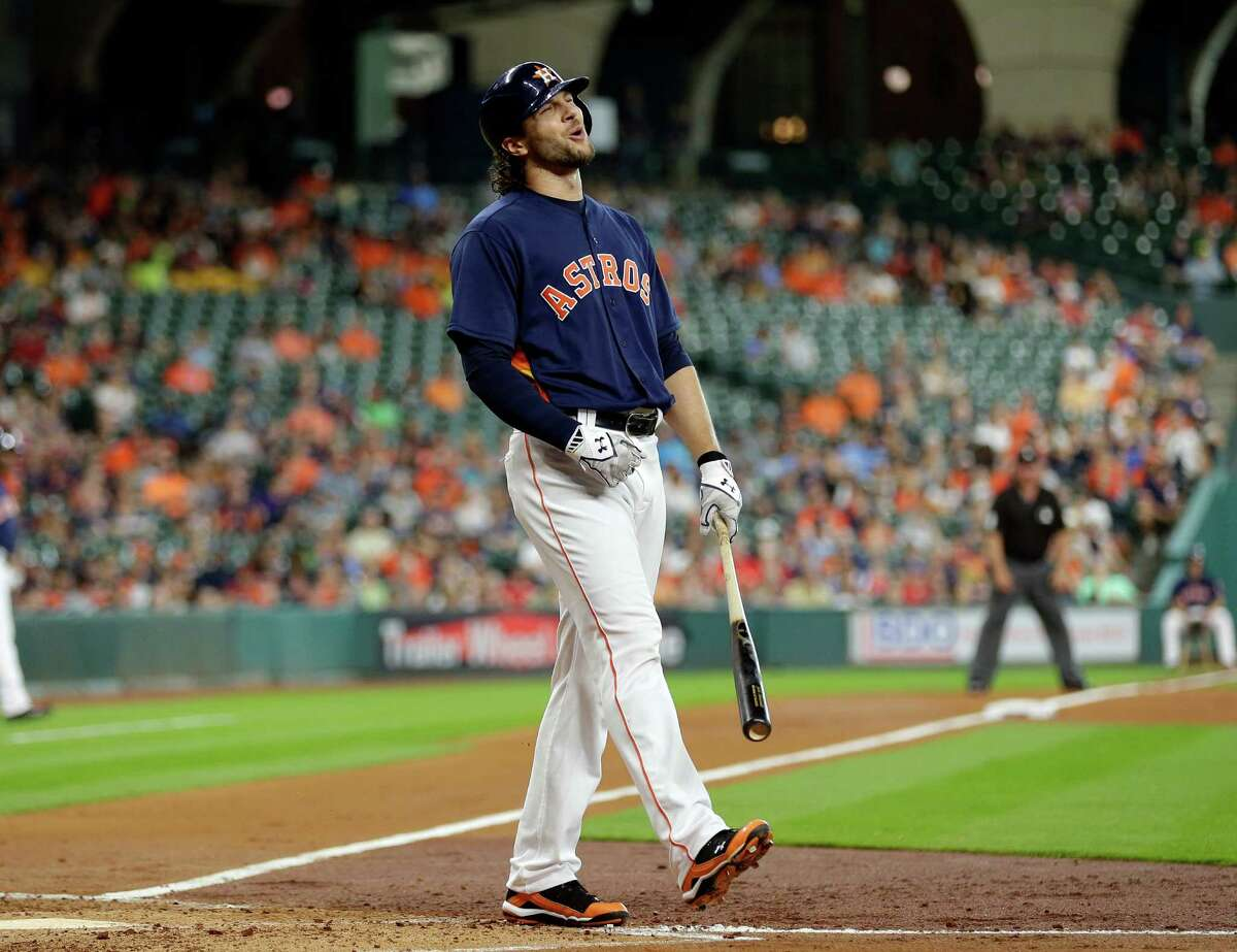 Houston Astros' Jake Marisnick reacts after striking out against the Detroit Tigers during the second inning of a baseball game, Sunday, April 17, 2016, in Houston. (AP Photo/David J. Phillip)
