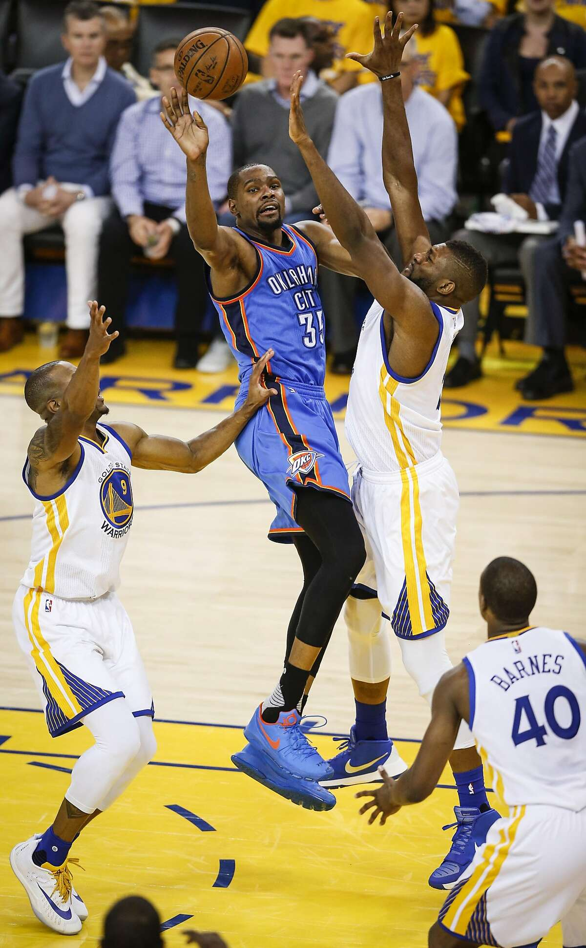 Golden State Warriors� Festus Ezeli guards Oklahoma City Thunders� Kevin Durant in the second quarter during Game 1 of the NBA Western Conference Finals at Oracle Arena on Monday, May 16, 2016 in Oakland, Calif.
