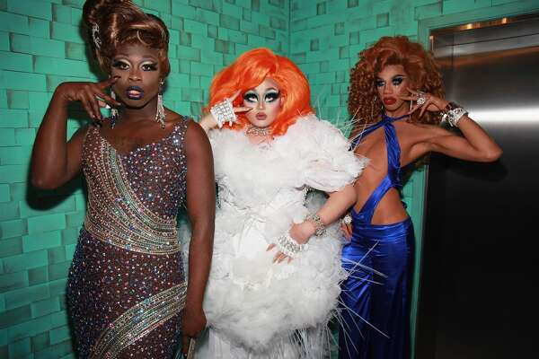 NEW YORK, NY - MAY 16:  (L-R) Finalists Bob the Drag Queen, Kim Chi, and Naomi Smalls pose onstage during the RuPaul's Drag Race Season 8 Finale Party at Stage 48 on May 16, 2016 in New York City.  (Photo by Santiago Felipe/Getty Images for RuPaul's Drag Race)