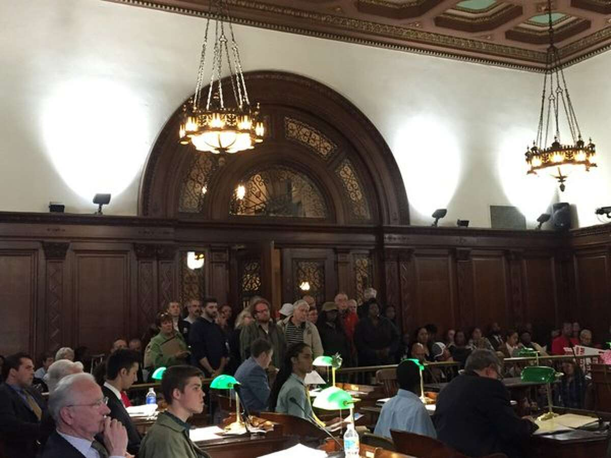 Standing room only crowd spilling out into the hallway at the Albany Common Council meeting Monday, May 16, 2016, on the 178-mile Pilgrim Pipeline project. Photo by Jordan Carleo-Evangelist