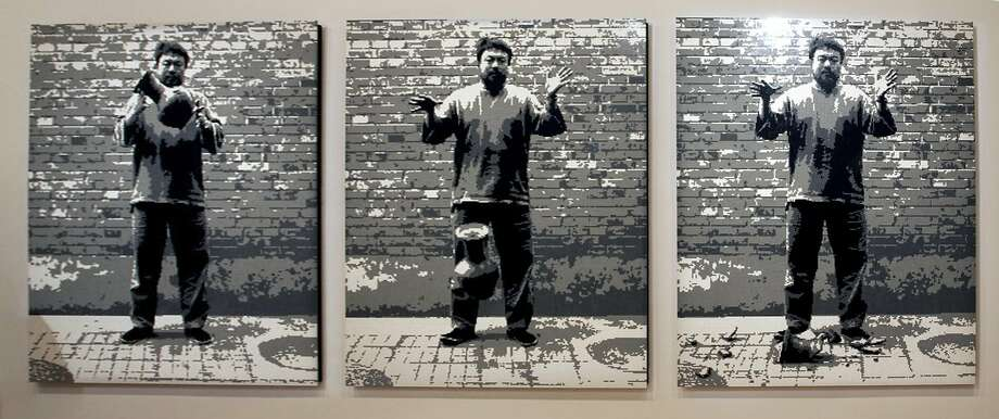 """Ai Weiwei, """"Dropping a Han Dynasty Urn,"""" 2015, made with Lego bricks. Photo: Courtesy Ai Weiwei And Haines Gallery"""