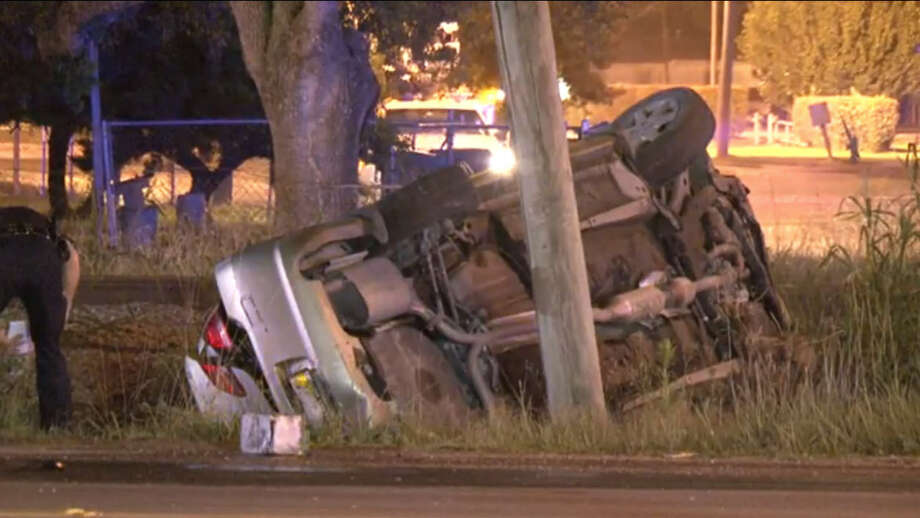 A man died late Monday night in a traffic crash after slamming into a pickup truck while traveling at a high rate of speed and running through several red lights. Photo: Metro Video